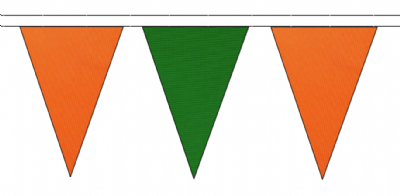 ORANGE AND MID GREEN TRIANGULAR BUNTING - 10m / 20m / 50m LENGTHS